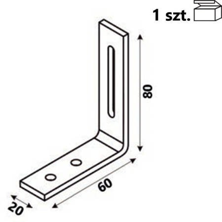 Kątownik KR1 80x60x20 x 4,0 mm (1 szt.)
