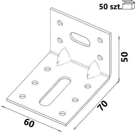 Kątownik KR2 70x50x60x 2,0 mm (Opakowanie 50 szt.)