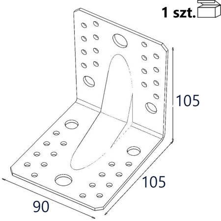 Kątownik z przetło. KP2 105x105x90 x 2,5mm (1 szt.)