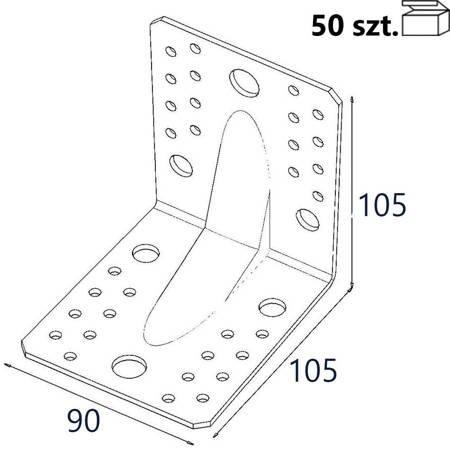 Kątownik z przetło. KP2 105x105x90 x 2,5mm (50 szt.)