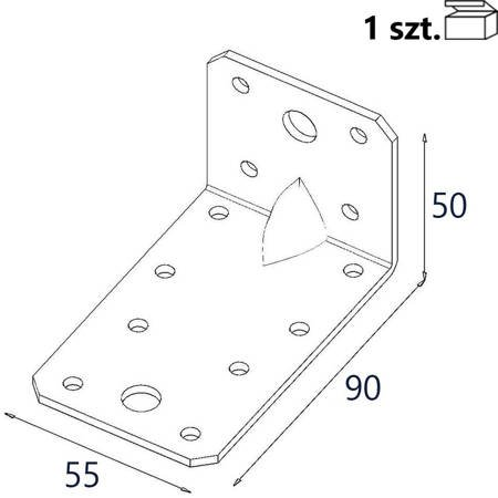 Kątownik z przetło. KP3 90x50x55 x 2,5mm (1 szt.)