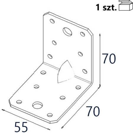 Kątownik z przetło. KP4 70x70x55 x 2,5mm (1 szt.)