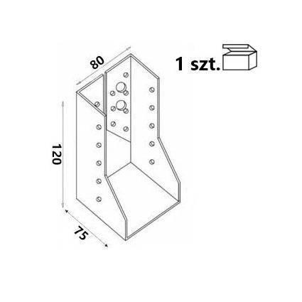 Wieszak belki WZ82 80x120x75x 2,0 mm (1 szt.)